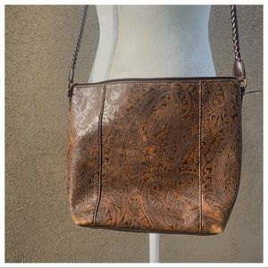 Brown paisley tooled leather shoulder bag